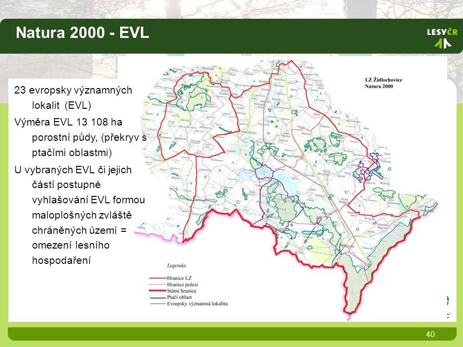 Natura 2000 - EVL 40 23 evropsky významných lokalit (EVL) Výměra EVL 13 108 ha porostní půdy, (překryv s ptačími oblastmi) U vybraných EVL či jejich částí postupné vyhlašování EVL formou maloplošných zvláště chráněných území = omezení lesního hospodaření