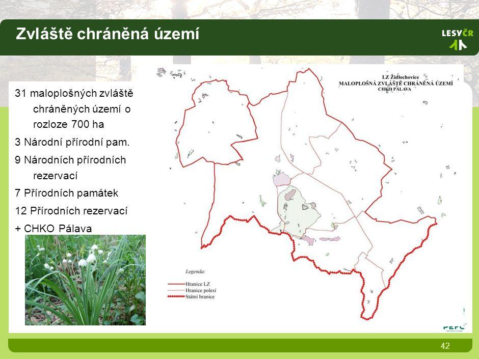 Zvláště chráněná území 42 31 maloplošných zvláště chráněných území o rozloze 700 ha 3 Národní přírodní pam.