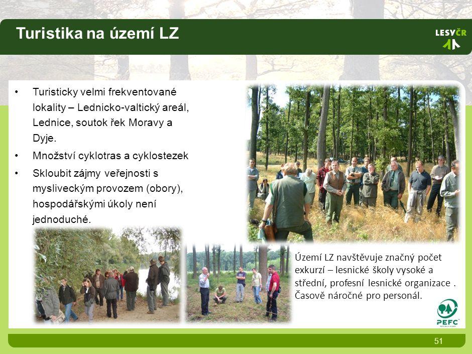 Turistika na území LZ 51 Turisticky velmi frekventované lokality – Lednicko-valtický areál, Lednice, soutok řek Moravy a Dyje.