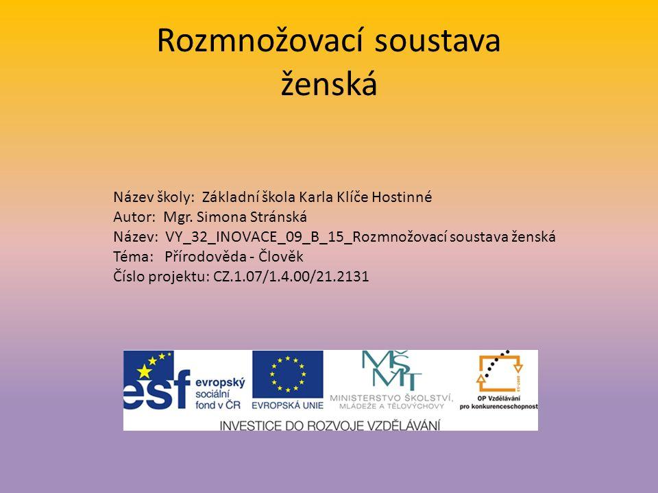 Rozmnožovací soustava ženská Název školy: Základní škola Karla Klíče Hostinné Autor: Mgr.