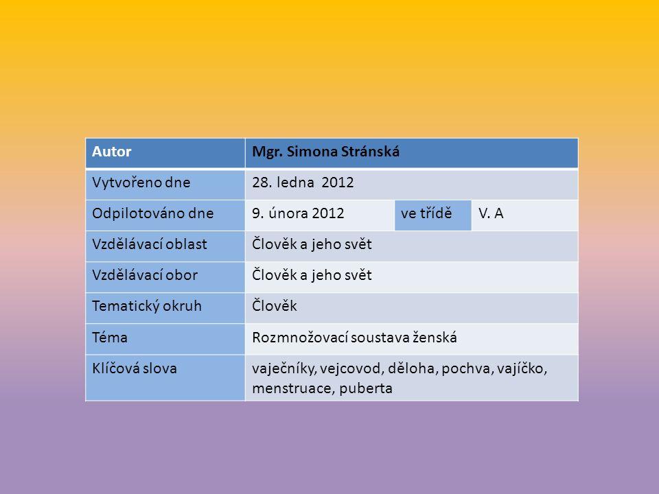 AutorMgr. Simona Stránská Vytvořeno dne28. ledna 2012 Odpilotováno dne9.