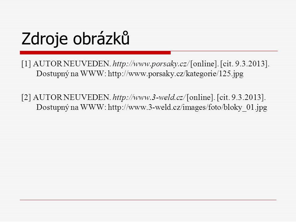 Zdroje obrázků [1] AUTOR NEUVEDEN. http://www.porsaky.cz/ [online]. [cit. 9.3.2013]. Dostupný na WWW: http://www.porsaky.cz/kategorie/125.jpg [2] AUTO