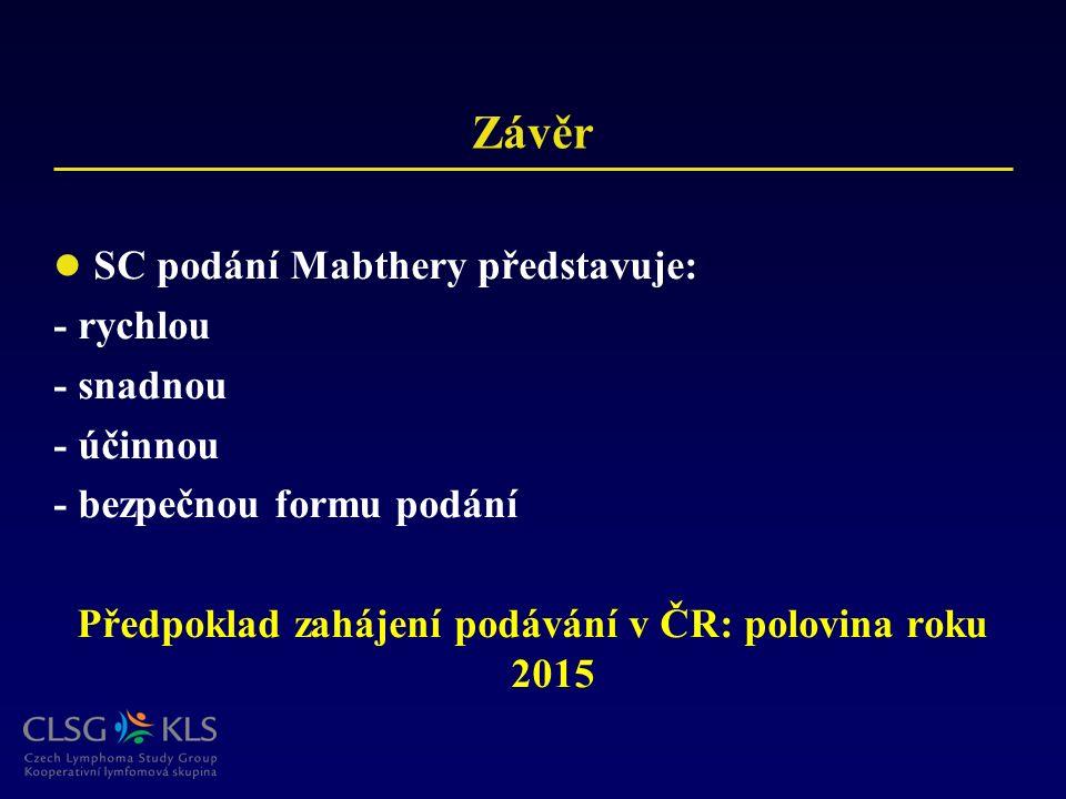 Závěr SC podání Mabthery představuje: - rychlou - snadnou - účinnou - bezpečnou formu podání Předpoklad zahájení podávání v ČR: polovina roku 2015
