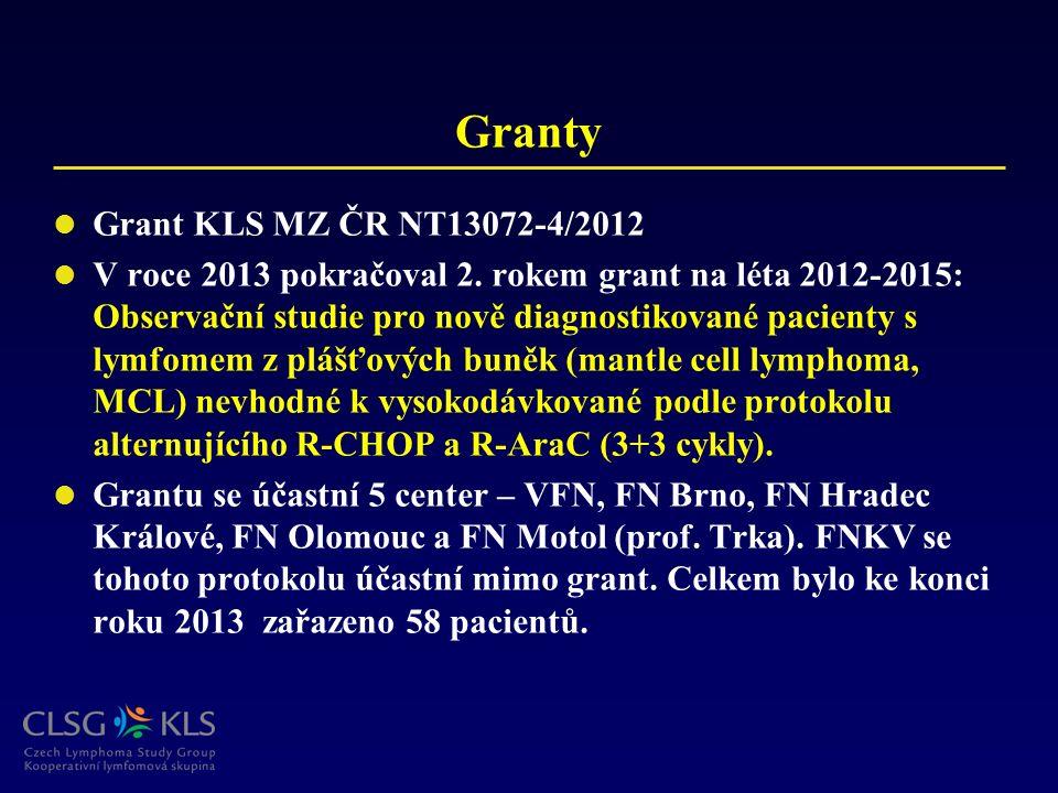 Granty Grant KLS MZ ČR NT13072-4/2012 V roce 2013 pokračoval 2. rokem grant na léta 2012-2015: Observační studie pro nově diagnostikované pacienty s l