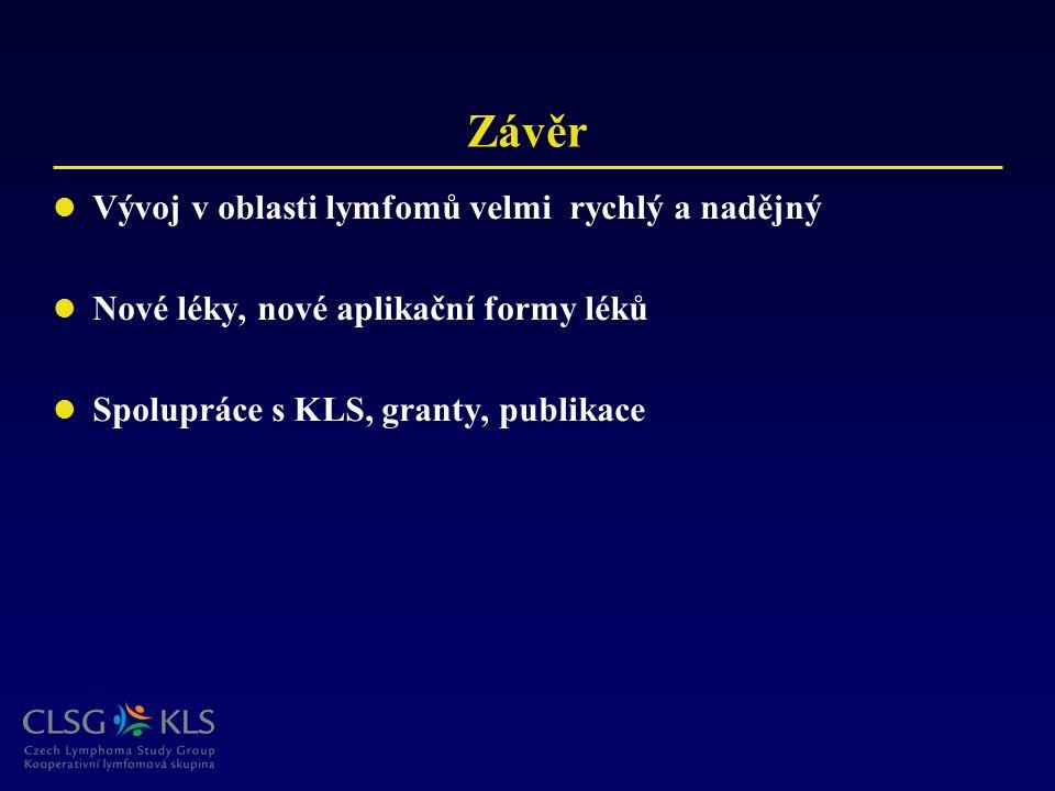 Závěr Vývoj v oblasti lymfomů velmi rychlý a nadějný Nové léky, nové aplikační formy léků Spolupráce s KLS, granty, publikace