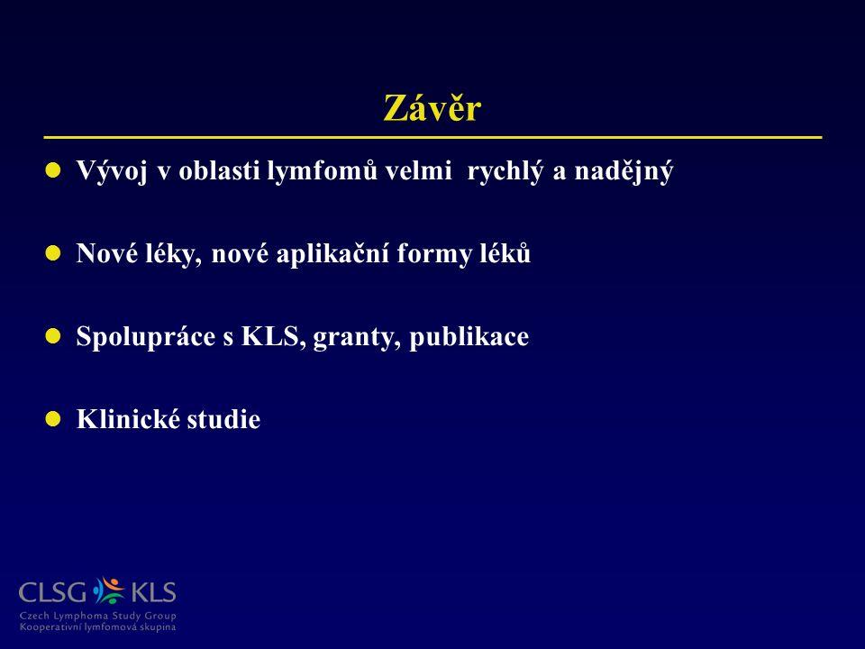 Závěr Vývoj v oblasti lymfomů velmi rychlý a nadějný Nové léky, nové aplikační formy léků Spolupráce s KLS, granty, publikace Klinické studie