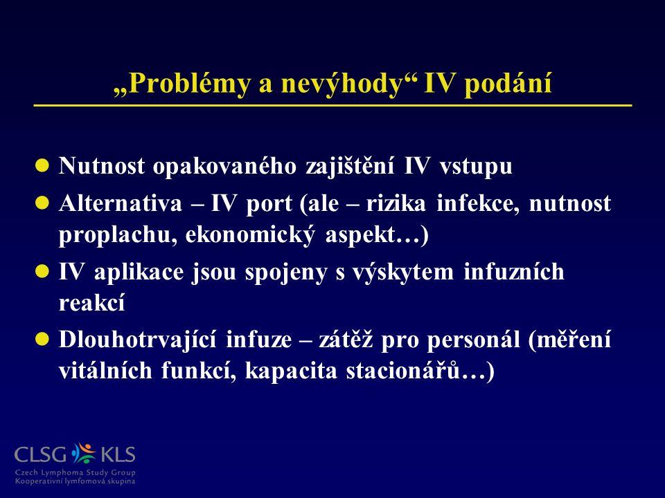 """""""Problémy a nevýhody"""" IV podání Nutnost opakovaného zajištění IV vstupu Alternativa – IV port (ale – rizika infekce, nutnost proplachu, ekonomický asp"""
