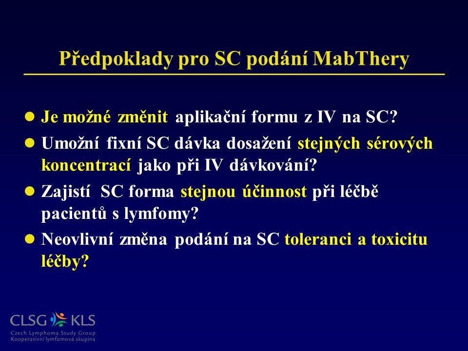 Předpoklady pro SC podání MabThery Je možné změnit aplikační formu z IV na SC? Umožní fixní SC dávka dosažení stejných sérových koncentrací jako při I