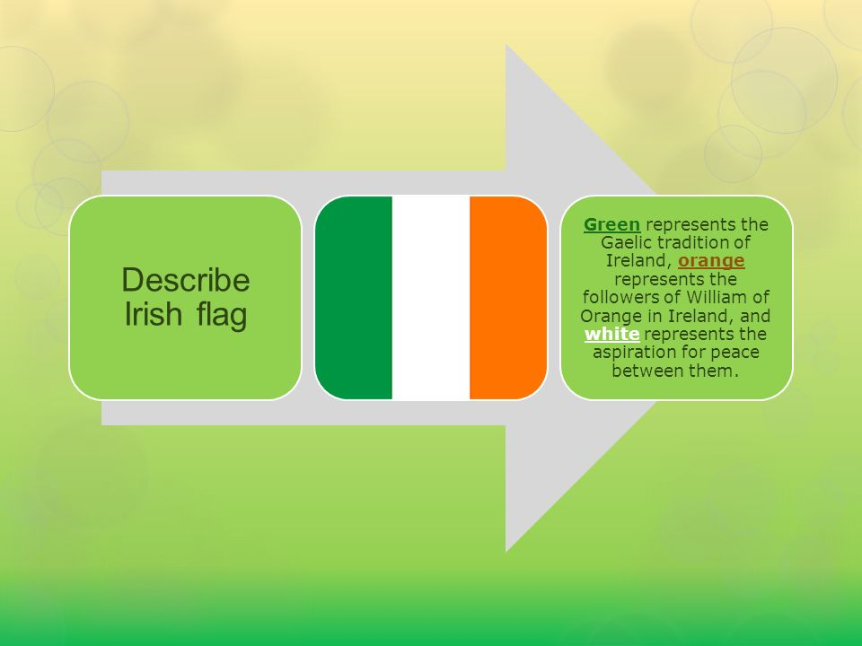 Green represents the Gaelic tradition of Ireland, orange represents the followers of William of Orange in Ireland, and white represents the aspiration