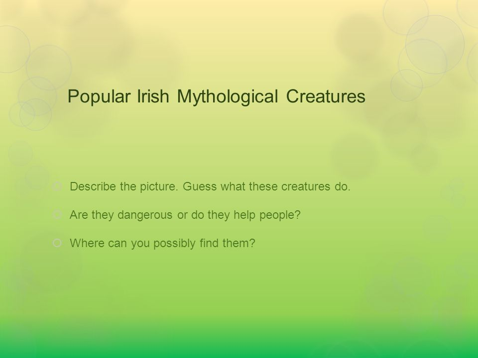 Popular Irish Mythological Creatures  Describe the picture.