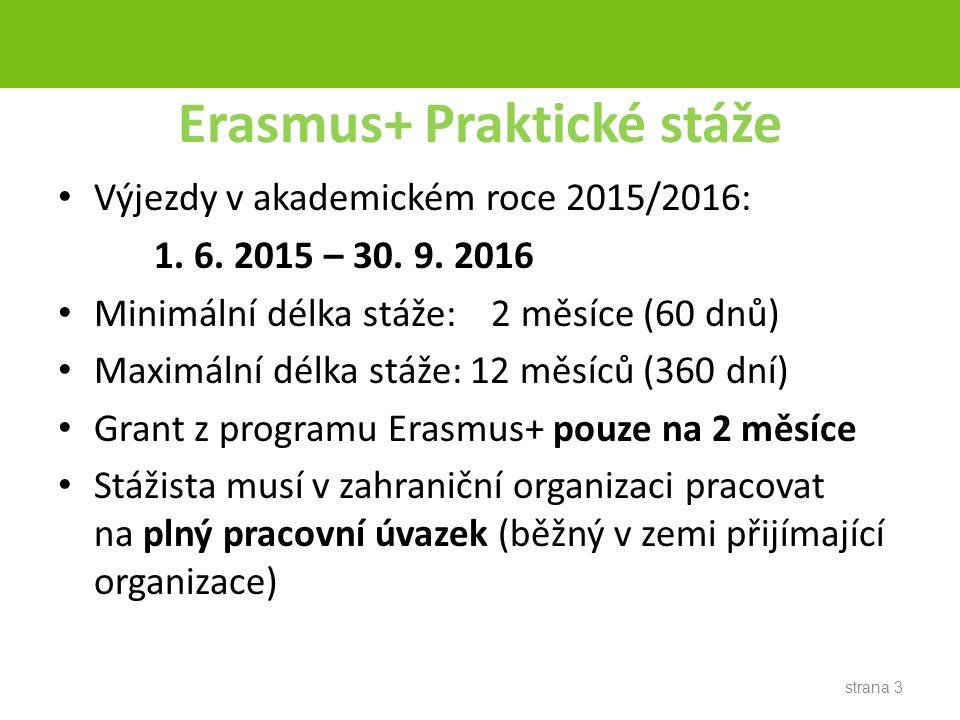 Erasmus+ Praktické stáže Výjezdy v akademickém roce 2015/2016: 1.