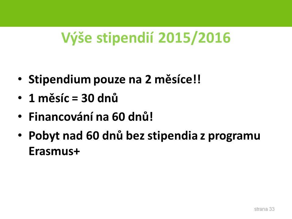 Výše stipendií 2015/2016 Stipendium pouze na 2 měsíce!.