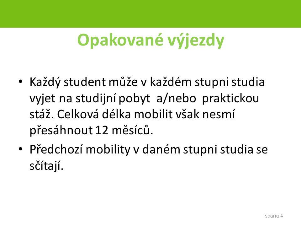 strana 4 Opakované výjezdy Každý student může v každém stupni studia vyjet na studijní pobyt a/nebo praktickou stáž.