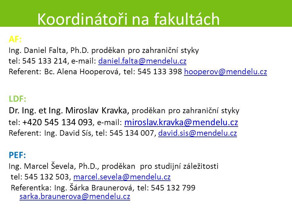 Koordinátoři na fakultách AF: Ing. Daniel Falta, Ph.D.