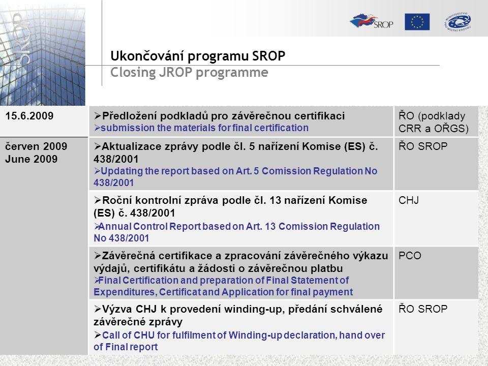 15.6.2009  Předložení podkladů pro závěrečnou certifikaci  submission the materials for final certification ŘO (podklady CRR a OŘGS) červen 2009 June 2009  Aktualizace zprávy podle čl.