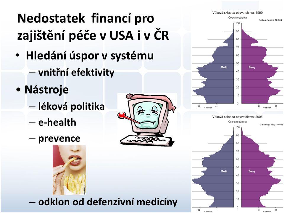 Nedostatek financí pro zajištění péče v USA i v ČR Hledání úspor v systému –v–vnitřní efektivity Nástroje –l–léková politika –e–e-health –p–prevence –o–odklon od defenzivní medicíny