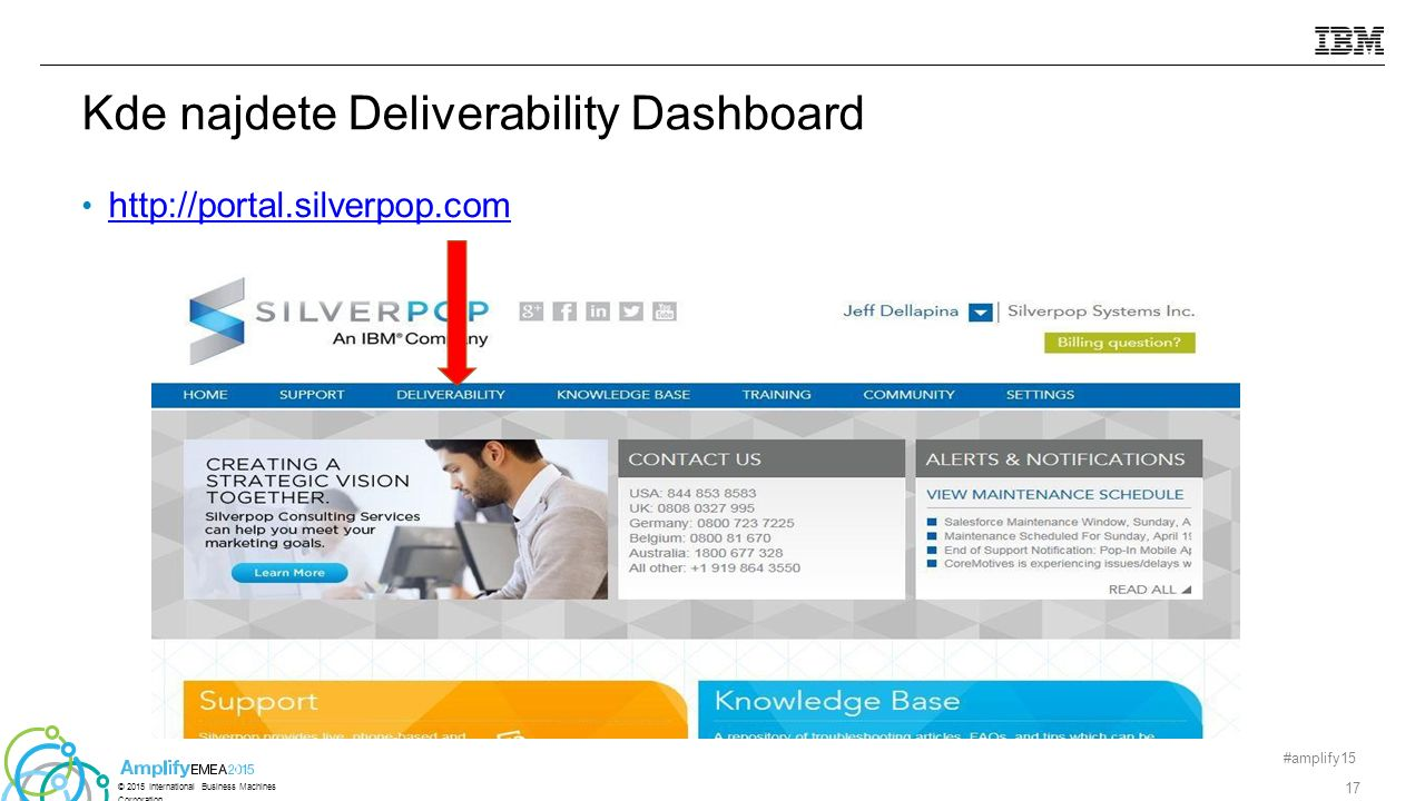 http://portal.silverpop.com Kde najdete Deliverability Dashboard #amplify15 17 © 2015 International Business Machines Corporation