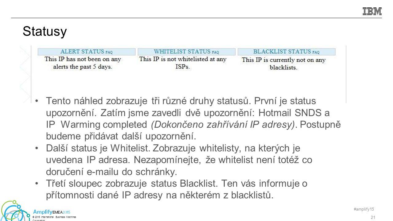 Statusy Tento náhled zobrazuje tři různé druhy statusů.