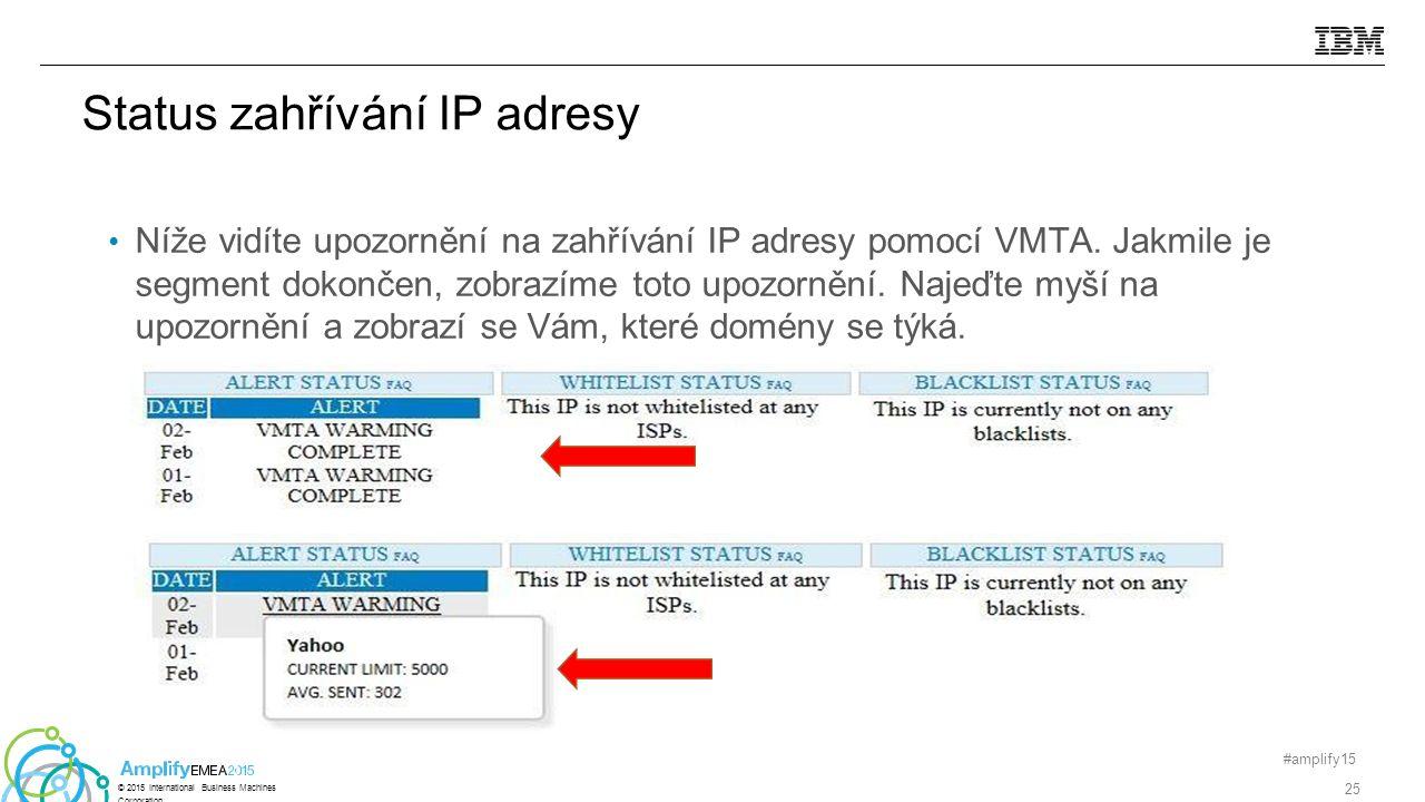 Status zahřívání IP adresy Níže vidíte upozornění na zahřívání IP adresy pomocí VMTA.