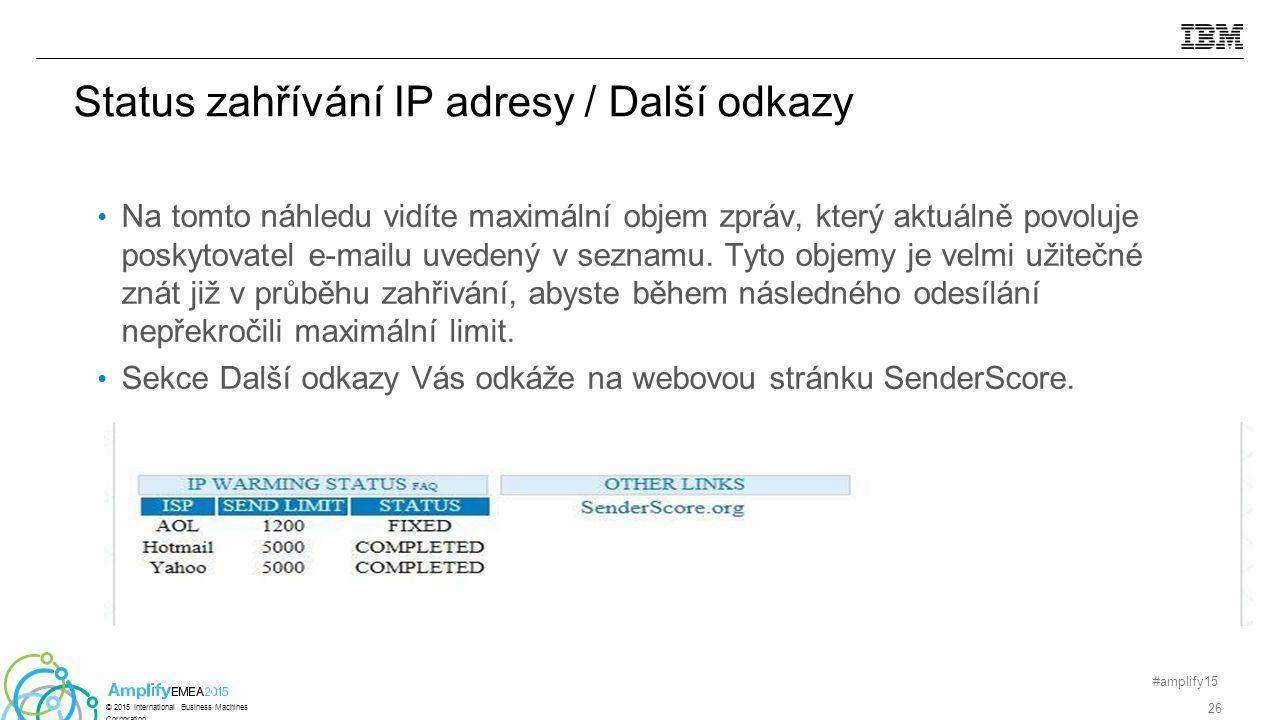 Status zahřívání IP adresy / Další odkazy Na tomto náhledu vidíte maximální objem zpráv, který aktuálně povoluje poskytovatel e-mailu uvedený v seznamu.