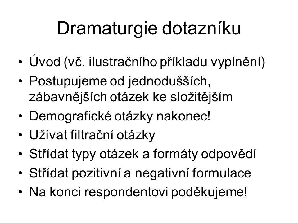 Dramaturgie dotazníku Úvod (vč.