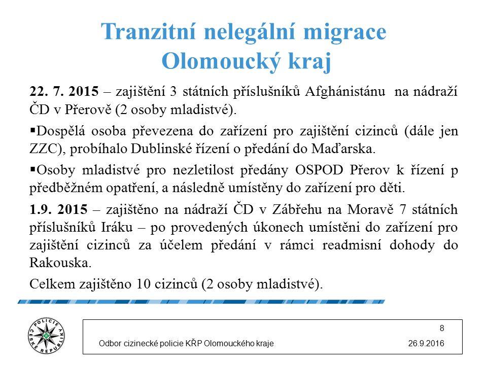 Tranzitní nelegální migrace Olomoucký kraj 22. 7. 2015 – zajištění 3 státních příslušníků Afghánistánu na nádraží ČD v Přerově (2 osoby mladistvé). 