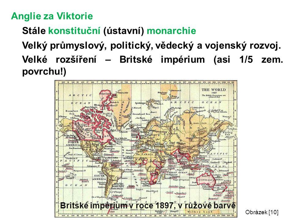 Anglie za Viktorie Stále konstituční (ústavní) monarchie Velký průmyslový, politický, vědecký a vojenský rozvoj.