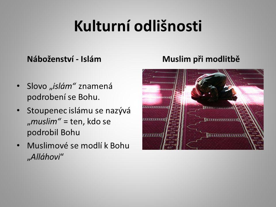 """Kulturní odlišnosti Náboženství - Islám Slovo """"islám"""" znamená podrobení se Bohu. Stoupenec islámu se nazývá """"muslim"""" = ten, kdo se podrobil Bohu Musli"""