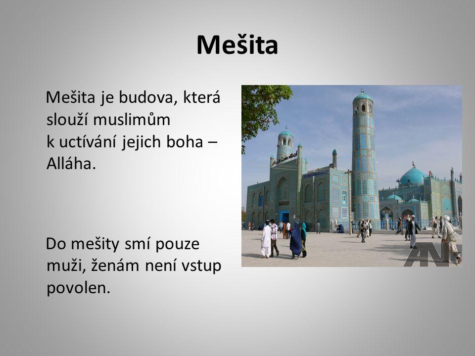 Mešita Mešita je budova, která slouží muslimům k uctívání jejich boha – Alláha. Do mešity smí pouze muži, ženám není vstup povolen.