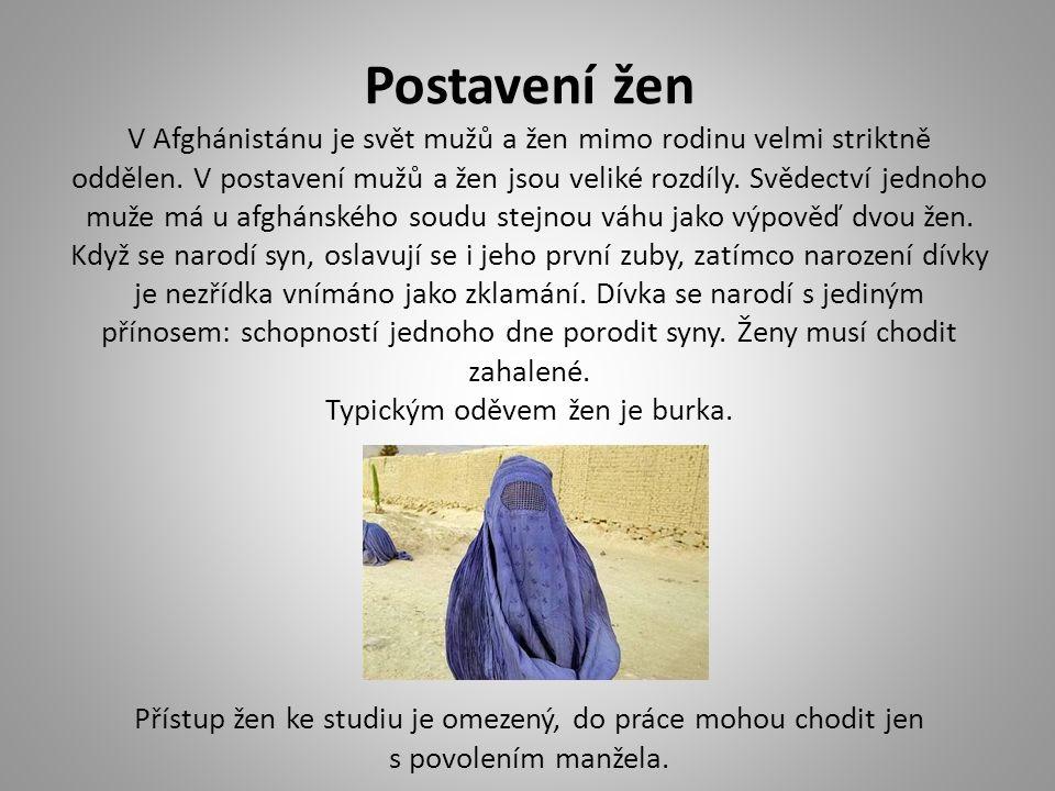 Postavení žen V Afghánistánu je svět mužů a žen mimo rodinu velmi striktně oddělen. V postavení mužů a žen jsou veliké rozdíly. Svědectví jednoho muže