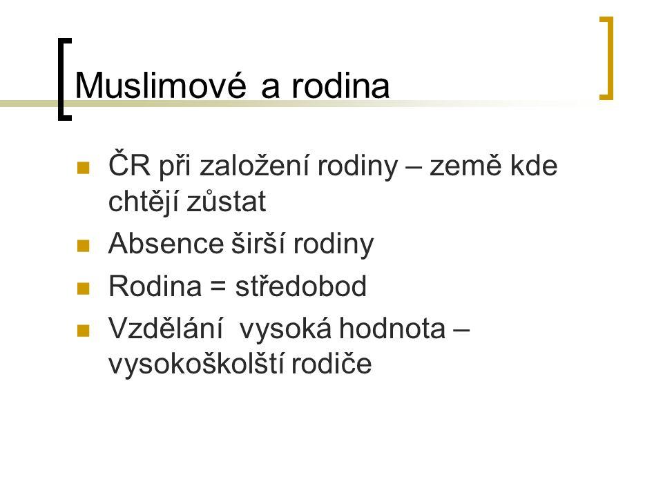 Muslimové a rodina ČR při založení rodiny – země kde chtějí zůstat Absence širší rodiny Rodina = středobod Vzdělání vysoká hodnota – vysokoškolští rodiče