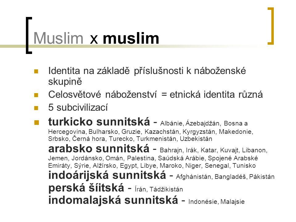 Muslim x muslim Identita na základě příslušnosti k náboženské skupině Celosvětové náboženství = etnická identita různá 5 subcivilizací turkicko sunnitská - Albánie, Ázebajdžán, Bosna a Hercegovina, Bulharsko, Gruzie, Kazachstán, Kyrgyzstán, Makedonie, Srbsko, Černá hora, Turecko, Turkmenistán, Uzbekistán arabsko sunnitská - Bahrajn, Irák, Katar, Kuvajt, Libanon, Jemen, Jordánsko, Omán, Palestina, Saúdská Arábie, Spojené Arabské Emiráty, Sýrie, Alžírsko, Egypt, Libye, Maroko, Niger, Senegal, Tunisko indoárijská sunnitská - Afghánistán, Bangladéš, Pákistán perská šíitská - Írán, Tádžikistán indomalajská sunnitská - Indonésie, Malajsie