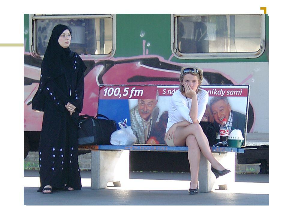 Muslimové a škola Zahraniční školy – irácké velvyslanectví Muslimové v české škole - Možné bariéry Motlitba – 5x denně v astronomicky stanovenou dobu směrem k Mekce Tělo + gender – při motlitbě tělo zahaleno, oddělení mužského a ženského prostoru, péče o tělo - sport Strava – zákaz vepřového Rodiče – akceptace situace v jiné zemi – rodina x veřejný prostor Absence výuky – jazyk (motlitba v arabštině)