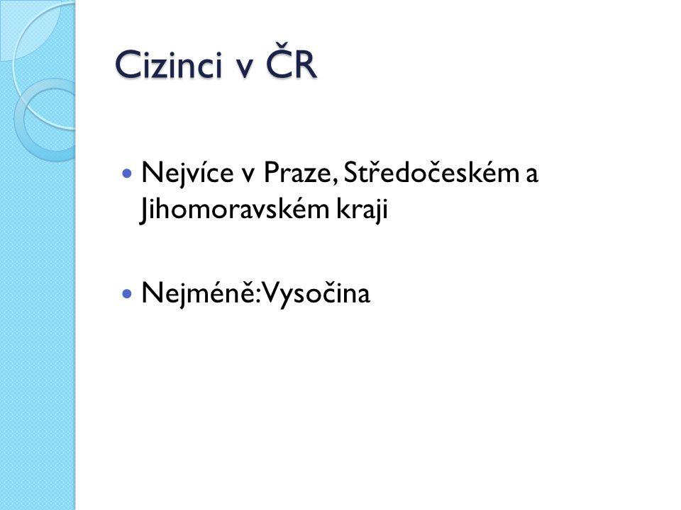 Cizinci v ČR Nejvíce v Praze, Středočeském a Jihomoravském kraji Nejméně: Vysočina