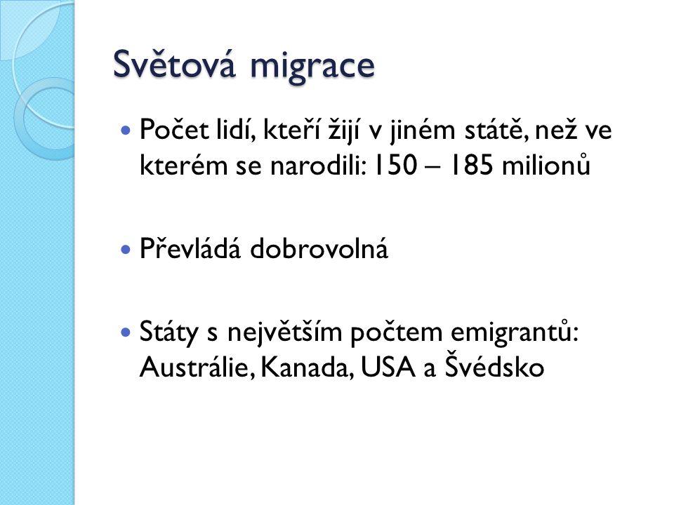 Světová migrace Počet lidí, kteří žijí v jiném státě, než ve kterém se narodili: 150 – 185 milionů Převládá dobrovolná Státy s největším počtem emigra