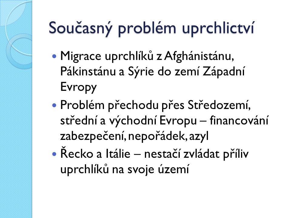 Současný problém uprchlictví Migrace uprchlíků z Afghánistánu, Pákinstánu a Sýrie do zemí Západní Evropy Problém přechodu přes Středozemí, střední a v