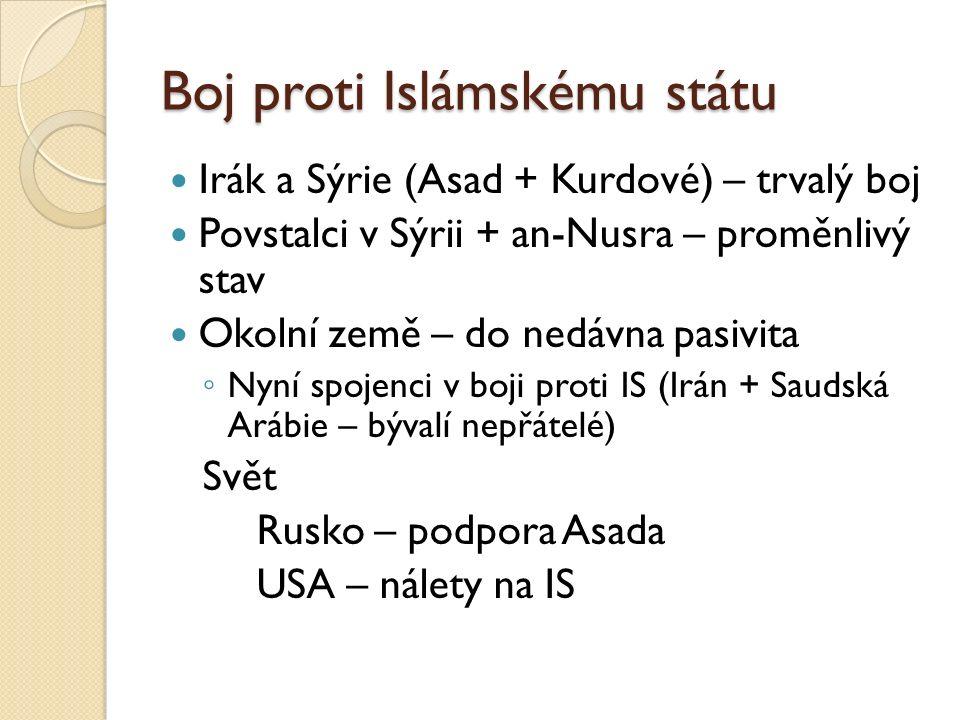 Boj proti Islámskému státu Irák a Sýrie (Asad + Kurdové) – trvalý boj Povstalci v Sýrii + an-Nusra – proměnlivý stav Okolní země – do nedávna pasivita ◦ Nyní spojenci v boji proti IS (Irán + Saudská Arábie – bývalí nepřátelé) Svět Rusko – podpora Asada USA – nálety na IS