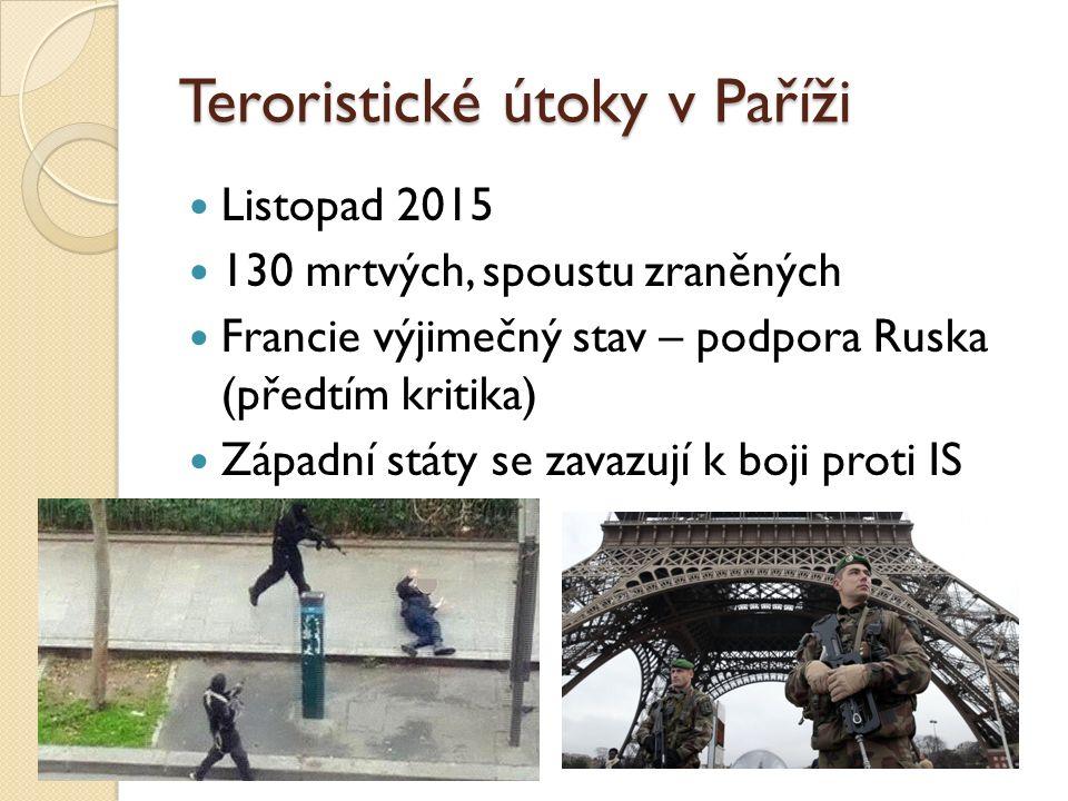 Teroristické útoky v Paříži Listopad 2015 130 mrtvých, spoustu zraněných Francie výjimečný stav – podpora Ruska (předtím kritika) Západní státy se zav