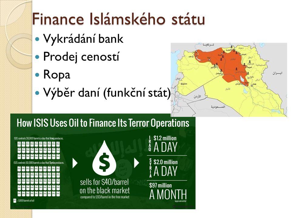 Finance Islámského státu Vykrádání bank Prodej ceností Ropa Výběr daní (funkční stát)
