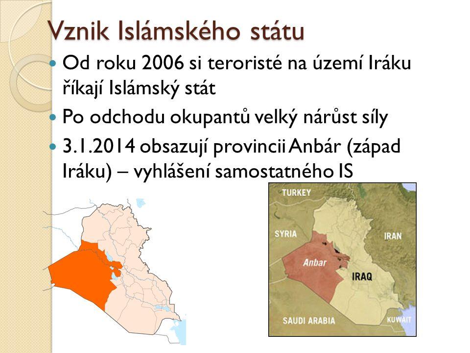 Vznik Islámského státu Od roku 2006 si teroristé na území Iráku říkají Islámský stát Po odchodu okupantů velký nárůst síly 3.1.2014 obsazují provincii