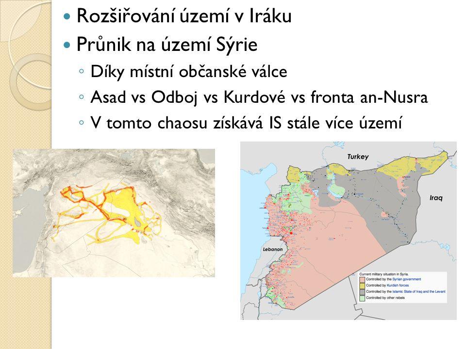Rozšiřování území v Iráku Průnik na území Sýrie ◦ Díky místní občanské válce ◦ Asad vs Odboj vs Kurdové vs fronta an-Nusra ◦ V tomto chaosu získává IS stále více území