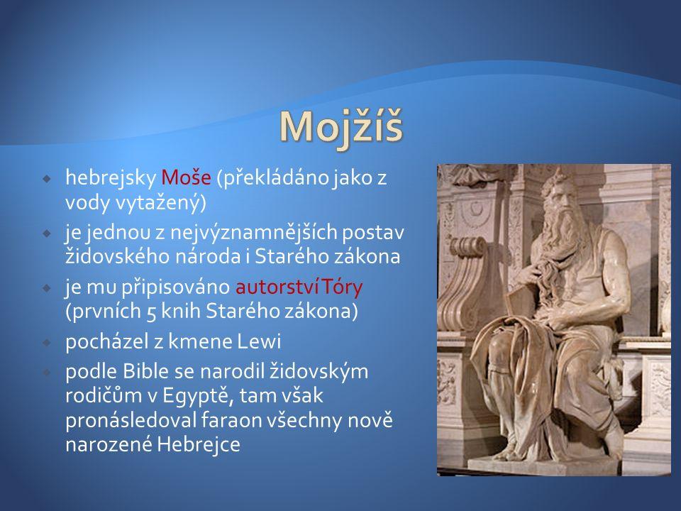  hebrejsky Moše (překládáno jako z vody vytažený)  je jednou z nejvýznamnějších postav židovského národa i Starého zákona  je mu připisováno autorství Tóry (prvních 5 knih Starého zákona)  pocházel z kmene Lewi  podle Bible se narodil židovským rodičům v Egyptě, tam však pronásledoval faraon všechny nově narozené Hebrejce