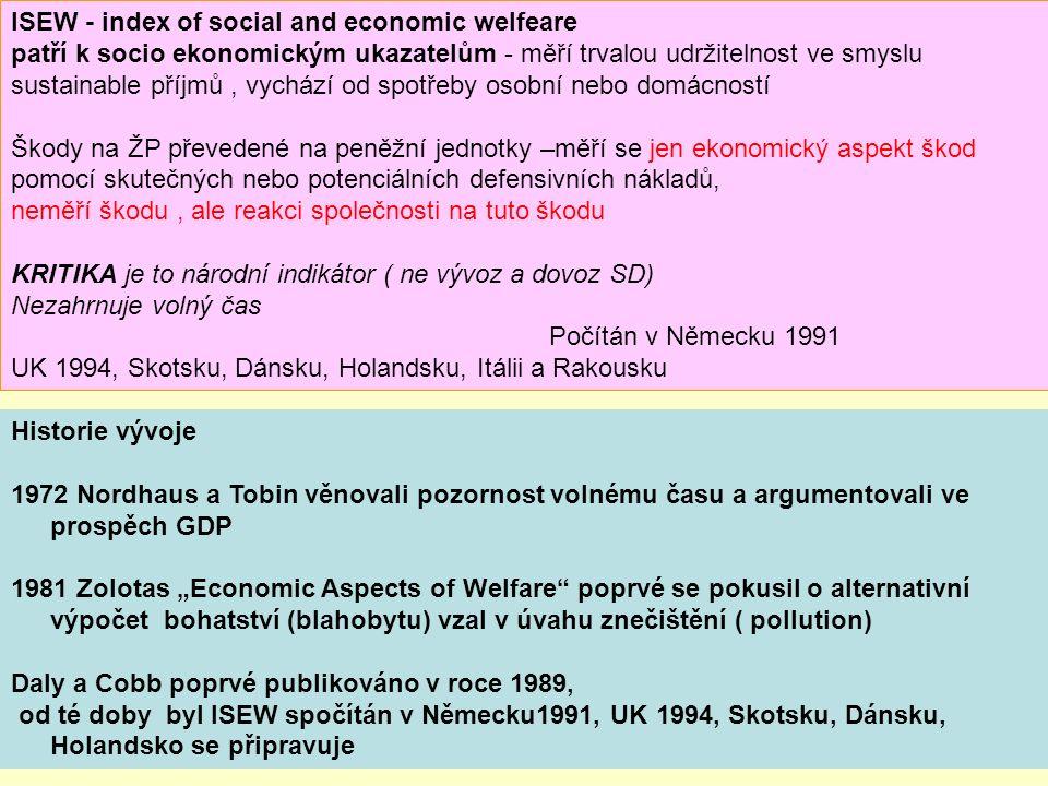 """Historie vývoje 1972 Nordhaus a Tobin věnovali pozornost volnému času a argumentovali ve prospěch GDP 1981 Zolotas """"Economic Aspects of Welfare"""" poprv"""