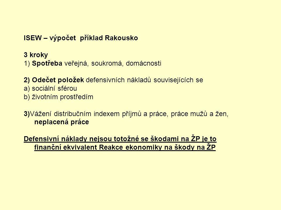 ISEW – výpočet příklad Rakousko 3 kroky 1) Spotřeba veřejná, soukromá, domácnosti 2) Odečet položek defensivních nákladů souvisejících se a) sociální