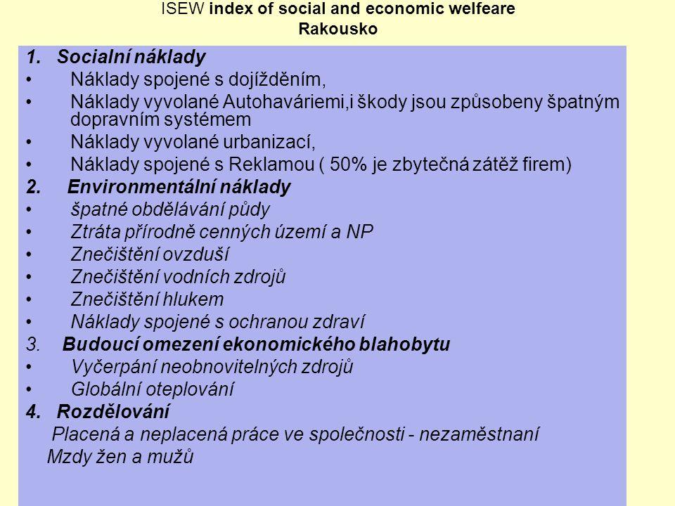 ISEW index of social and economic welfeare Rakousko 1. Socialní náklady Náklady spojené s dojížděním, Náklady vyvolané Autohaváriemi,i škody jsou způs