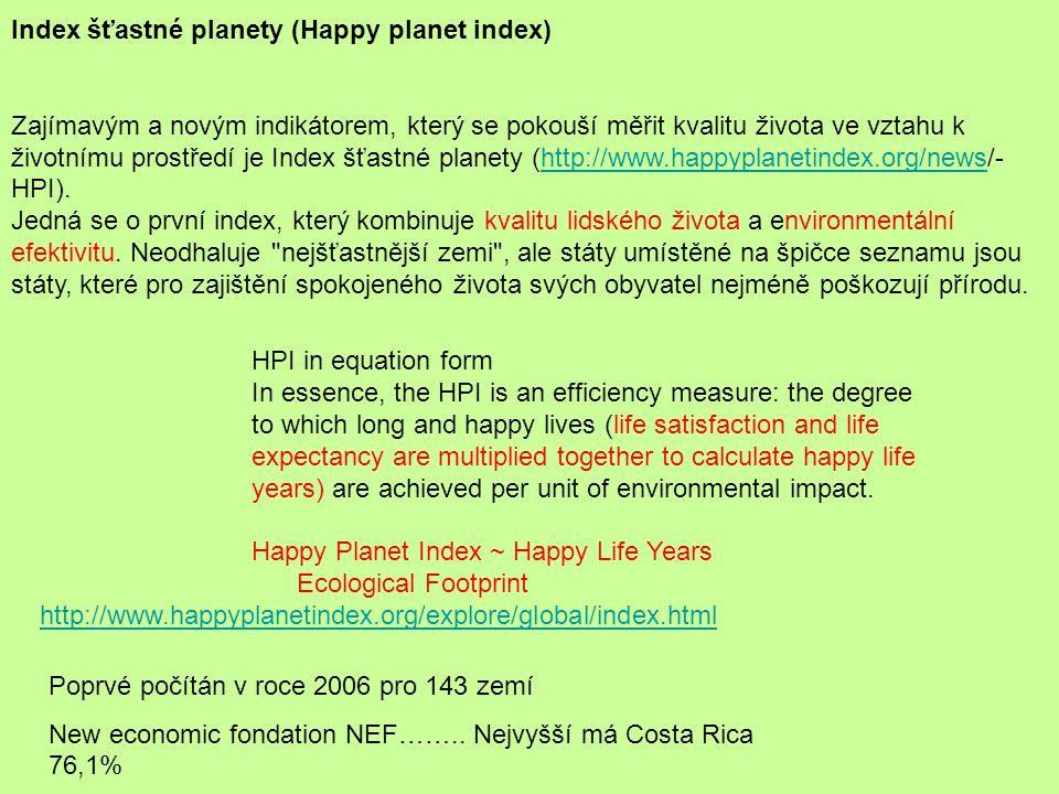 Index šťastné planety (Happy planet index) Zajímavým a novým indikátorem, který se pokouší měřit kvalitu života ve vztahu k životnímu prostředí je Ind