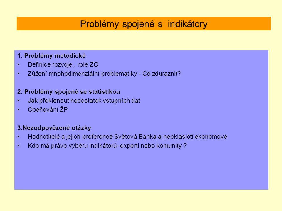 Problémy spojené s indikátory 1. Problémy metodické Definice rozvoje, role ZO Zúžení mnohodimenziální problematiky - Co zdůraznit? 2. Problémy spojené
