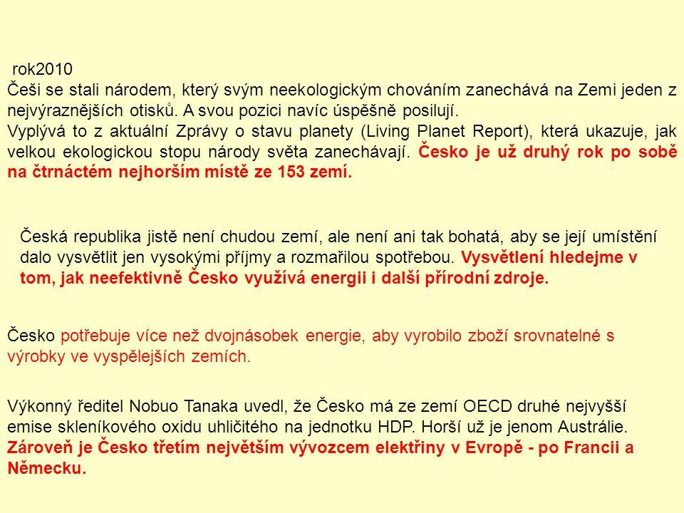 rok2010 Češi se stali národem, který svým neekologickým chováním zanechává na Zemi jeden z nejvýraznějších otisků. A svou pozici navíc úspěšně posiluj