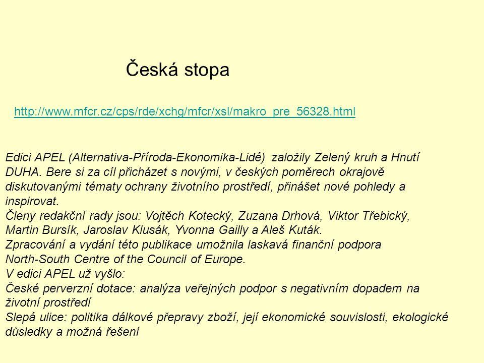 Edici APEL (Alternativa-Příroda-Ekonomika-Lidé) založily Zelený kruh a Hnutí DUHA. Bere si za cíl přicházet s novými, v českých poměrech okrajově disk