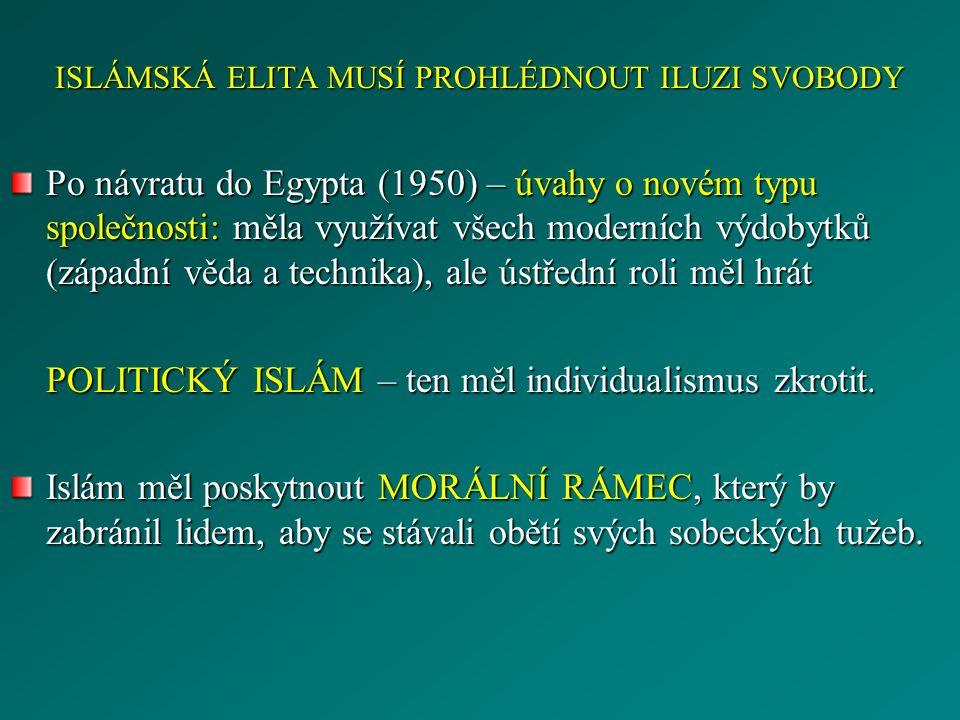 ISLÁMSKÁ ELITA MUSÍ PROHLÉDNOUT ILUZI SVOBODY Po návratu do Egypta (1950) – úvahy o novém typu společnosti: měla využívat všech moderních výdobytků (z